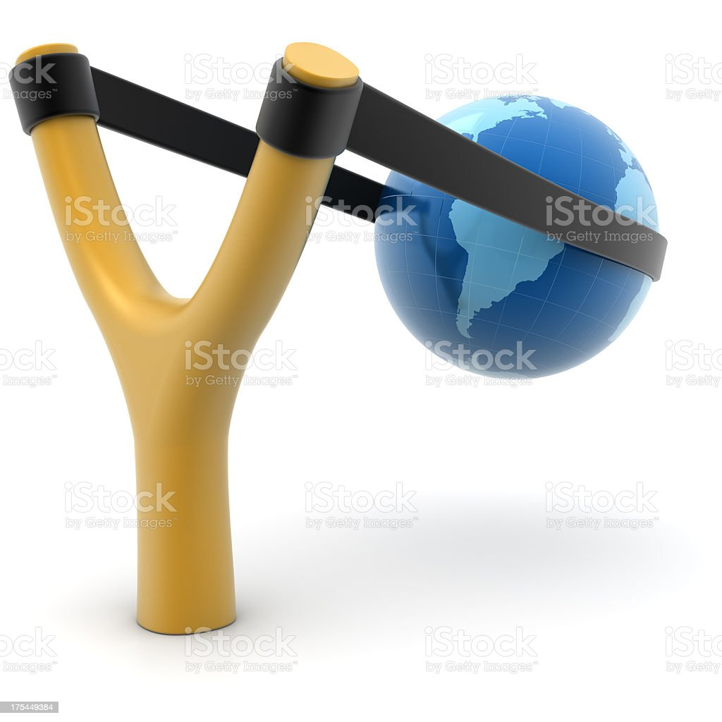Slingshot and earth stock photo