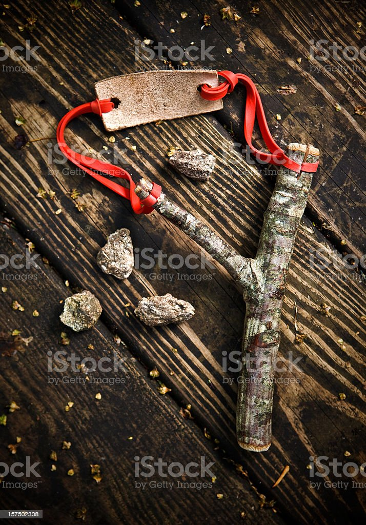 slingshot and stones royalty-free stock photo