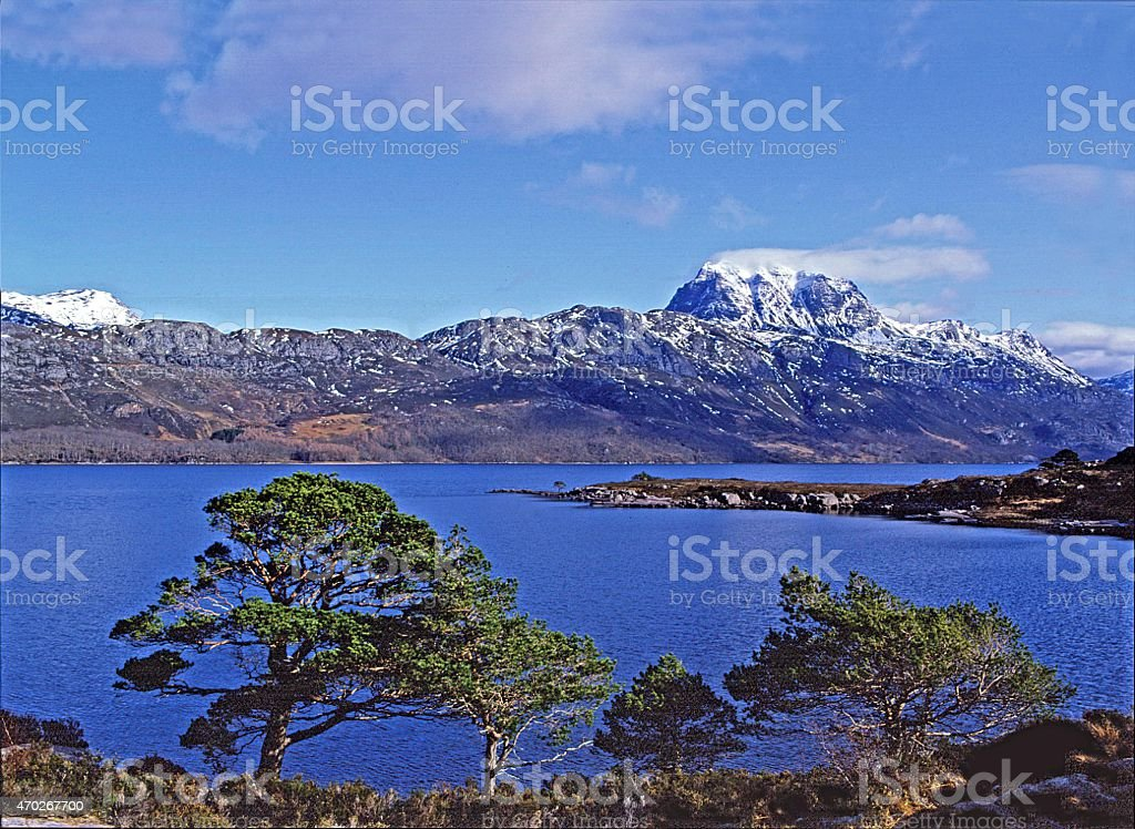 Slioch and Loch Maree Wester Ross Scotland stock photo