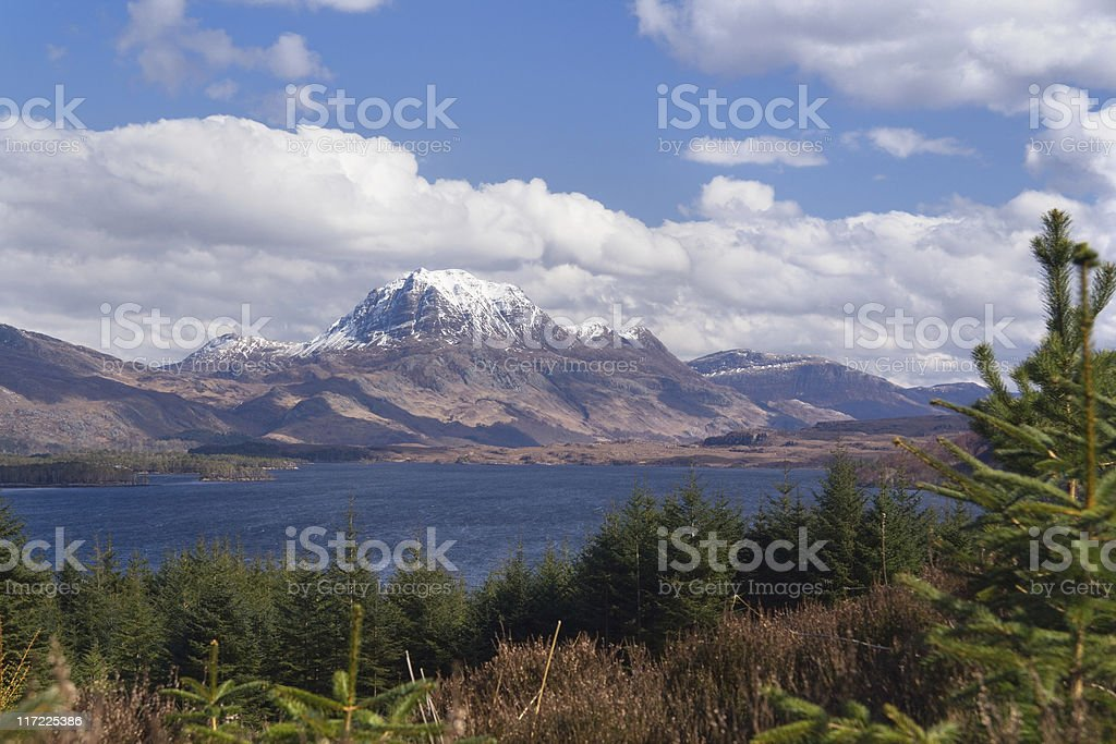 slioch over loch stock photo