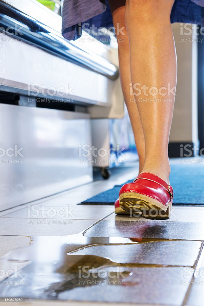 Slip hazard in a store stock photo