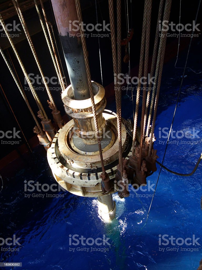 Slip joint on an drill ship stock photo