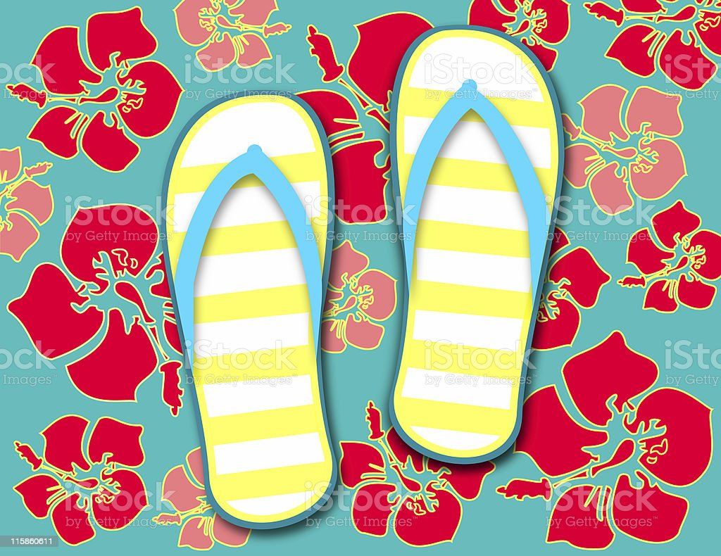Slipper and hibiscus royalty-free stock vector art