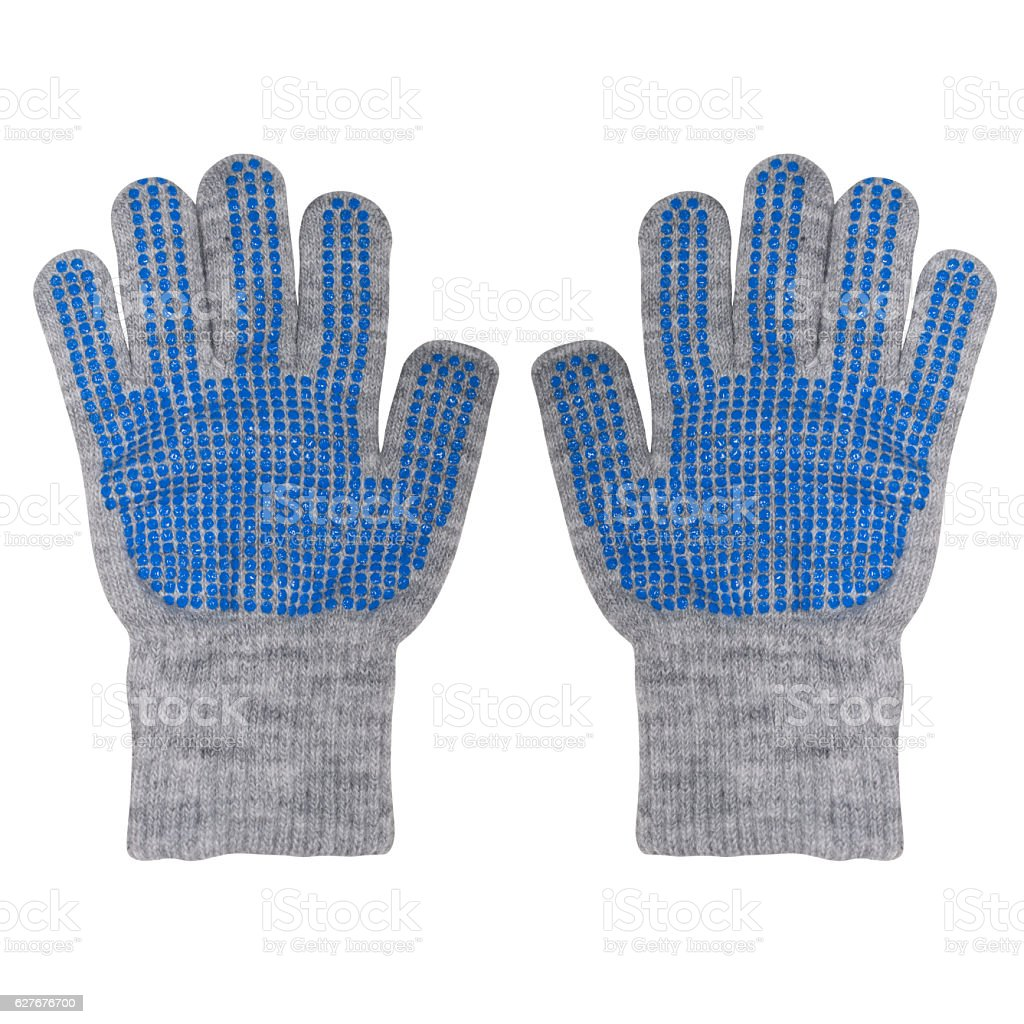 slippering gloves for a boy isolated stock photo