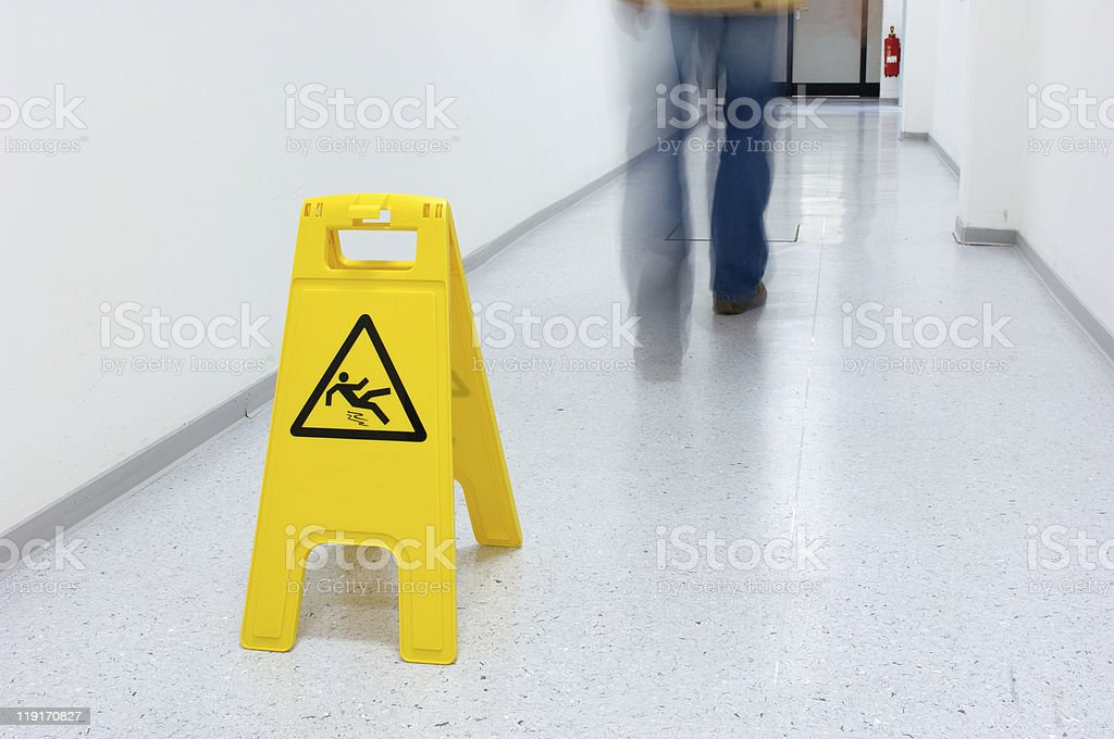 Slippery floor stock photo