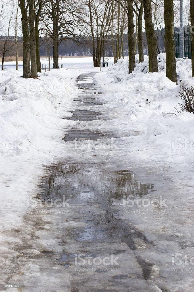 Slippery Footpath royalty-free stock photo