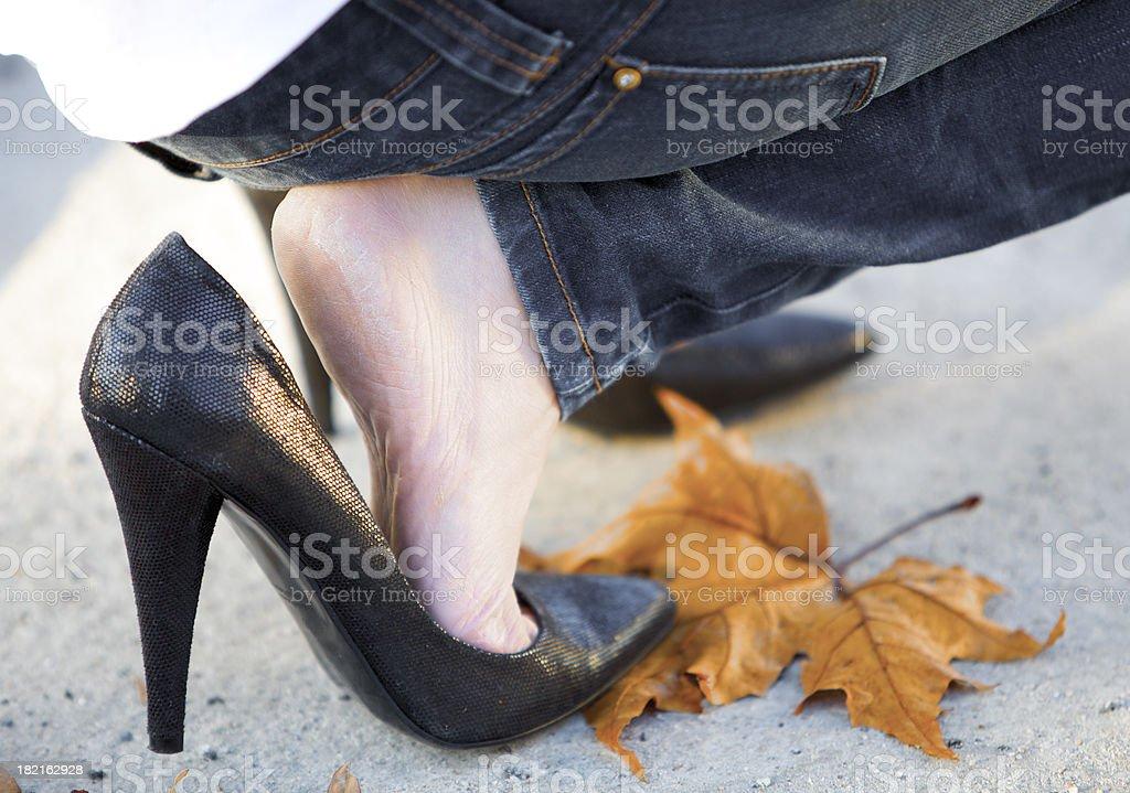 Slippery heels royalty-free stock photo