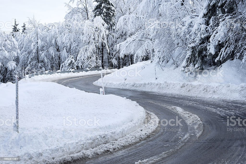 Slippery Road Bend in Winter Slovenia Europe royalty-free stock photo