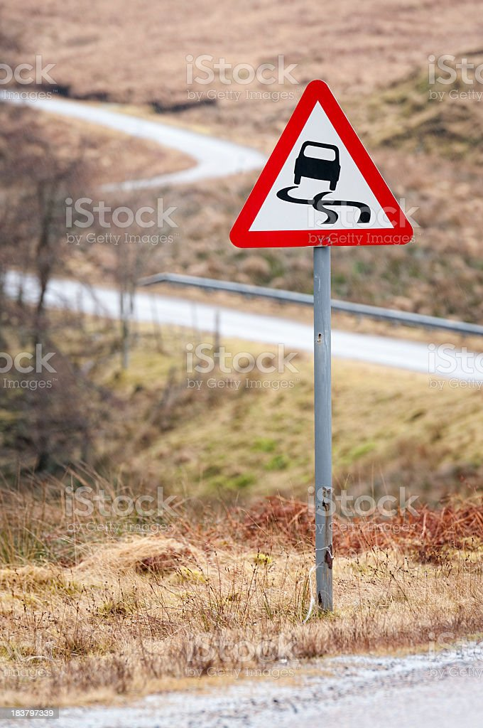 Slippery Road in Wet Weather royalty-free stock photo