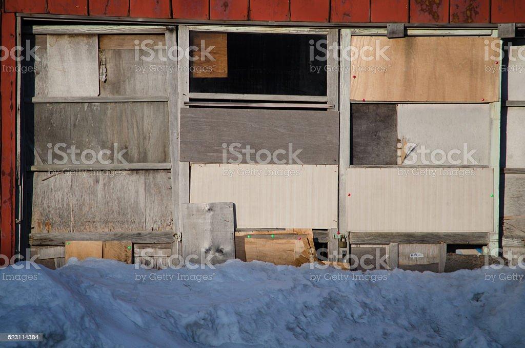 Slippery sliding doors stock photo