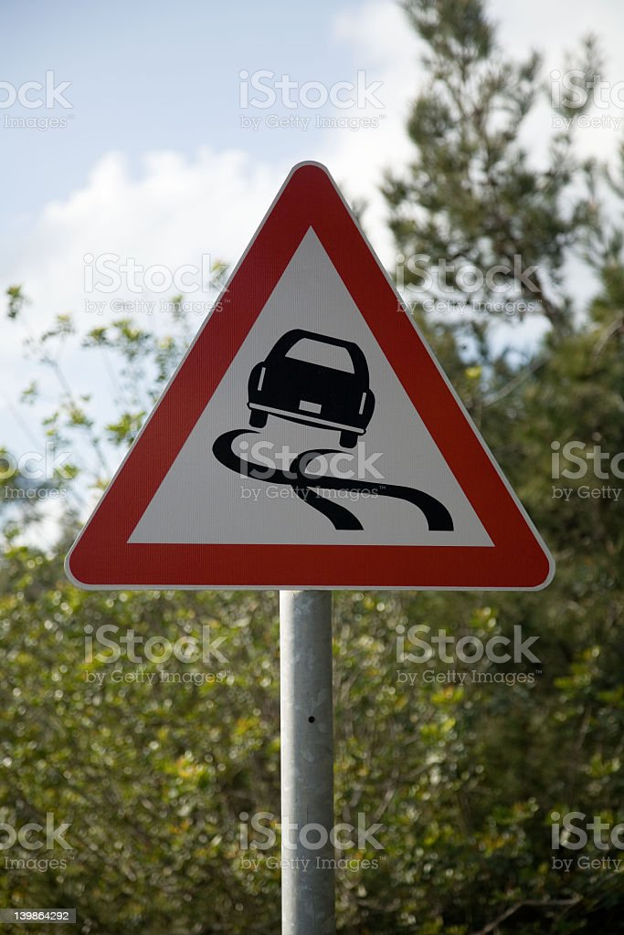 Slippery surface road sign royalty-free stock photo
