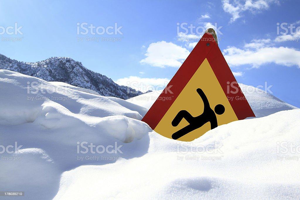 """""""Slippery Surface"""" road sign royalty-free stock photo"""