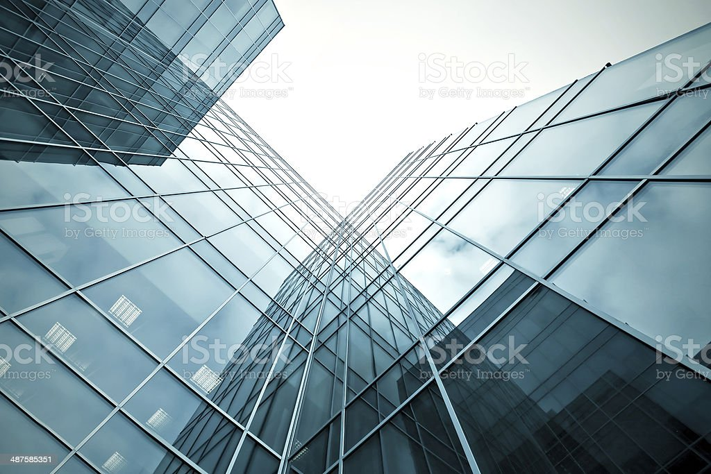 slippery texture of glass high-rise building stock photo