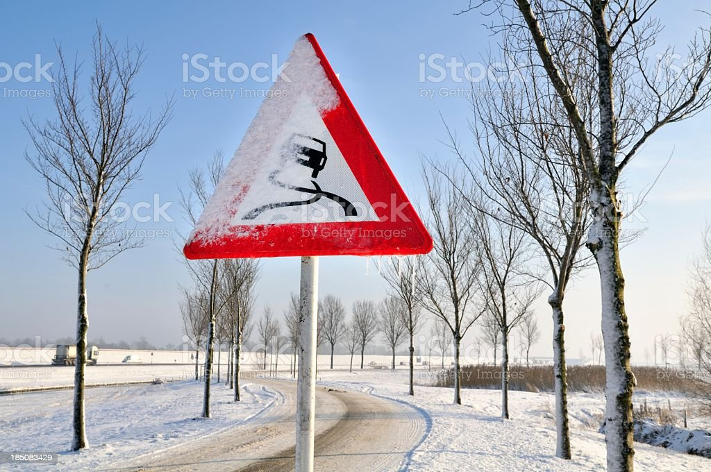 Slippery warning stock photo