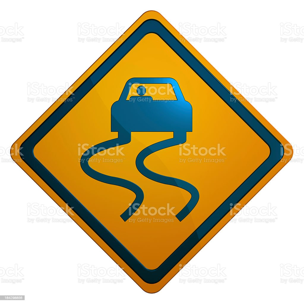 Slippery When Wet Road Sign with Reflection stock photo