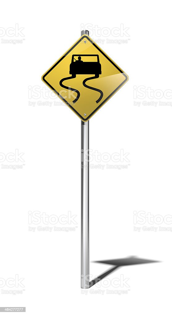 Slippery when wet warning sign (USA) with clipping path stock photo