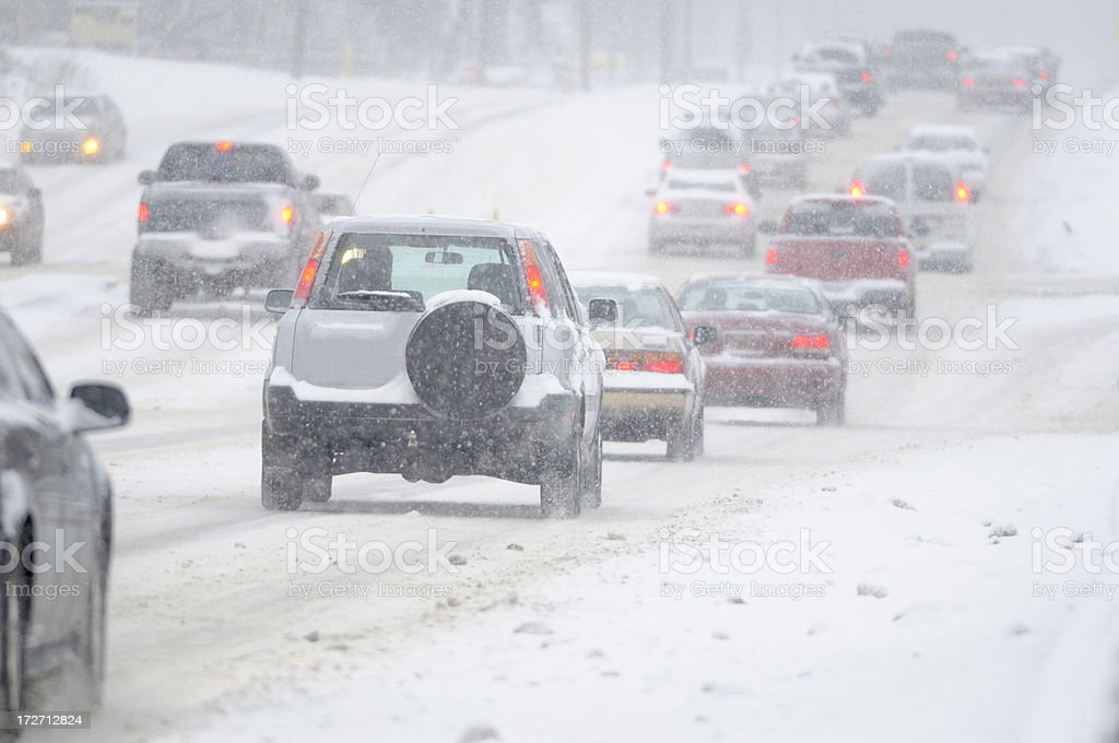 Slippery winter road conditions. stock photo