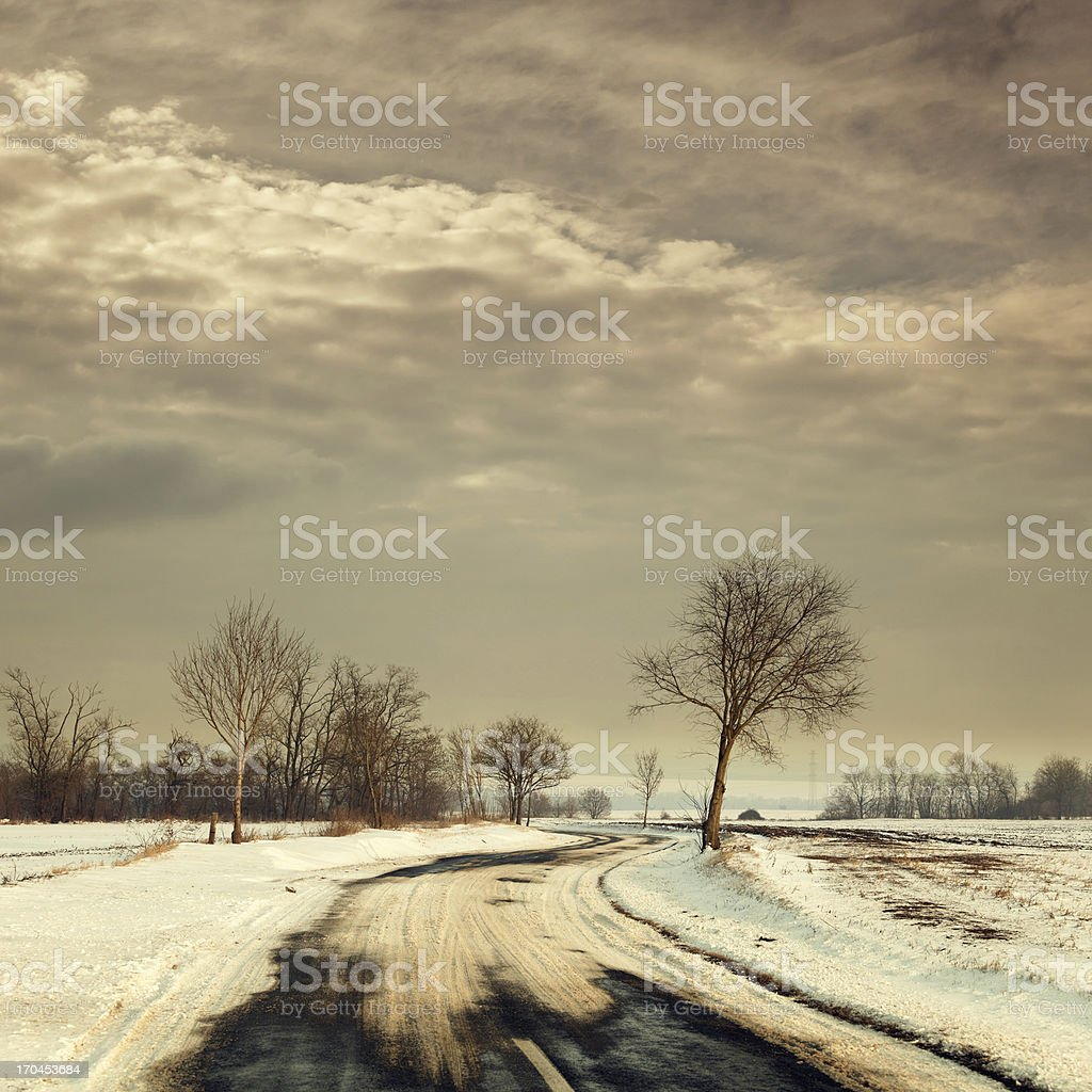 slippery winter road royalty-free stock photo