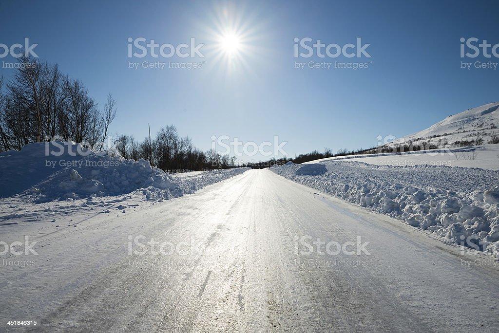 slippery winter road stock photo