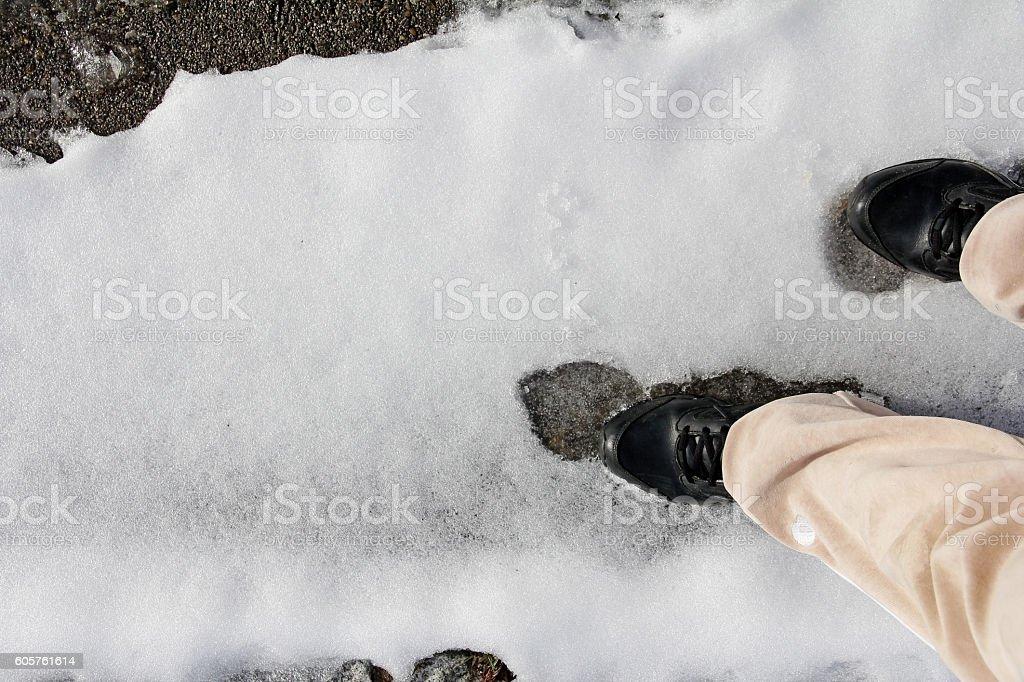 Slipping on snow slippery road stock photo