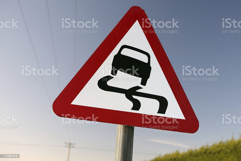 Slippy road stock photo