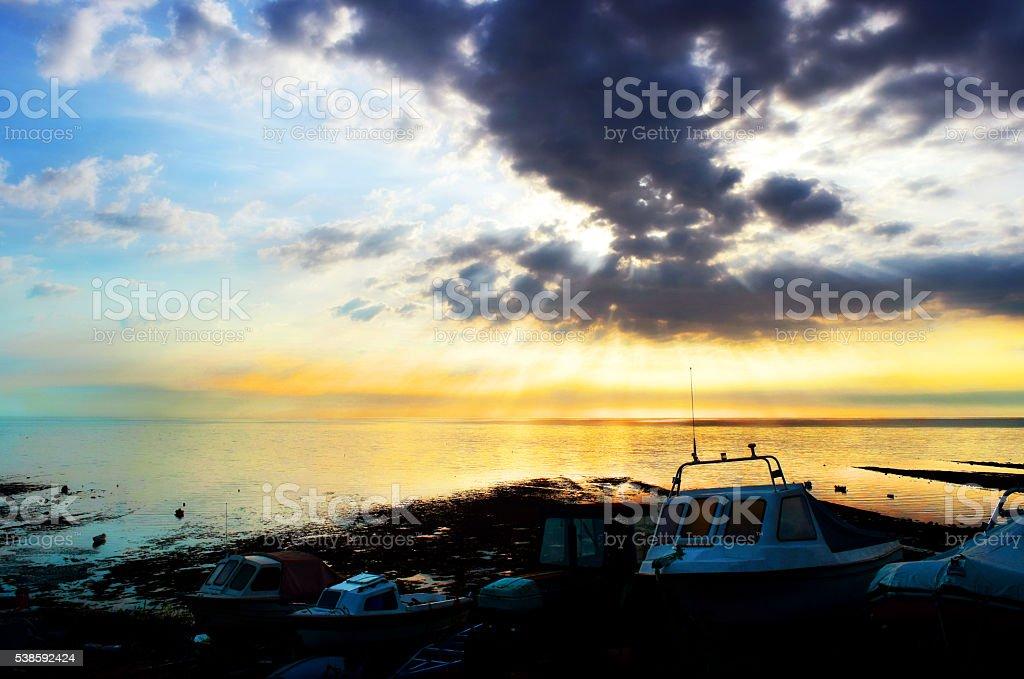 Slipway and Sunrays stock photo