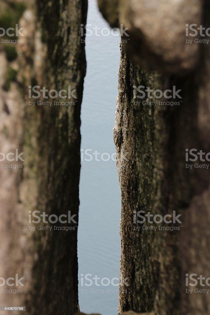 Slit / Crack in Rocks stock photo