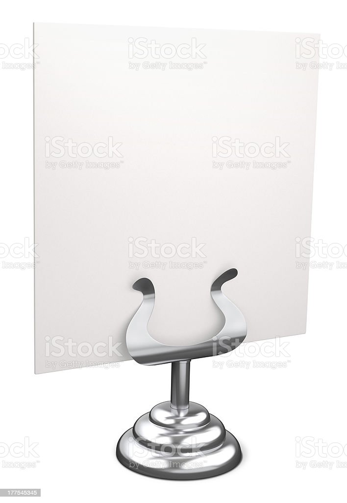 Sliver place card holder stock photo