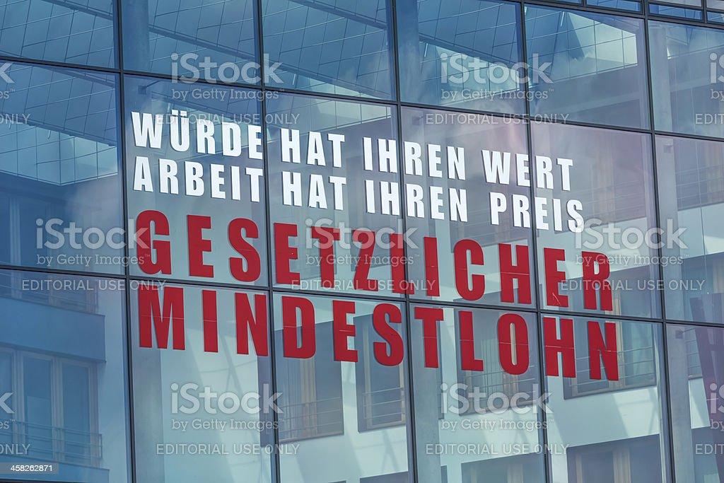 Slogan of the labor union Verdi in Berlin stock photo