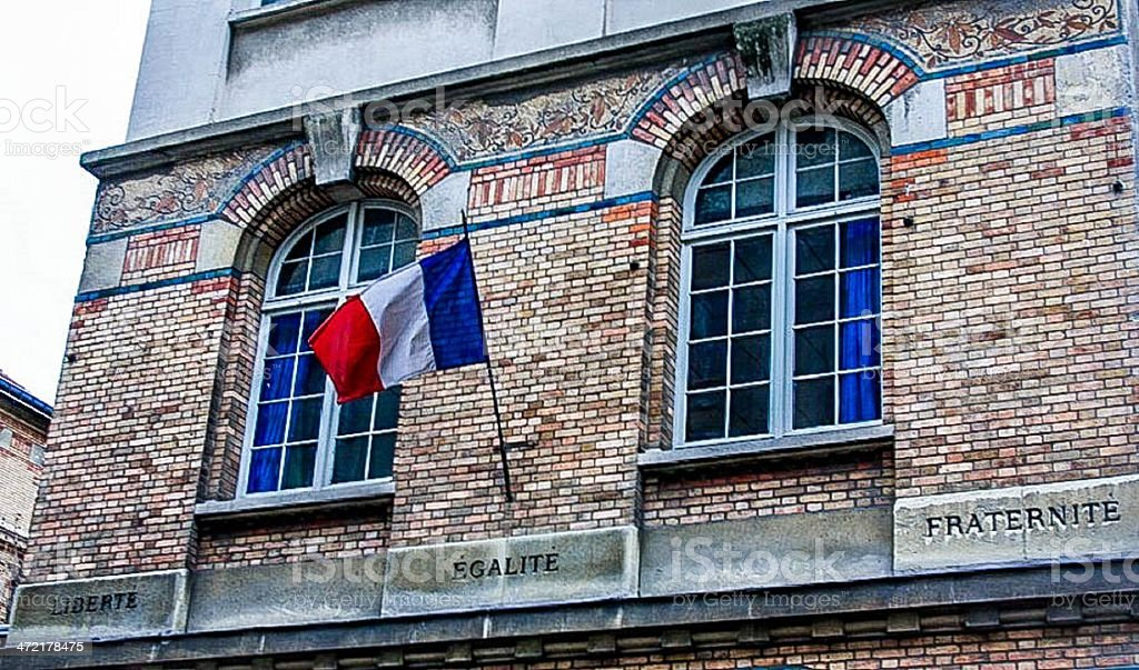 Slogans of French Revolution on building in Paris royalty-free stock photo
