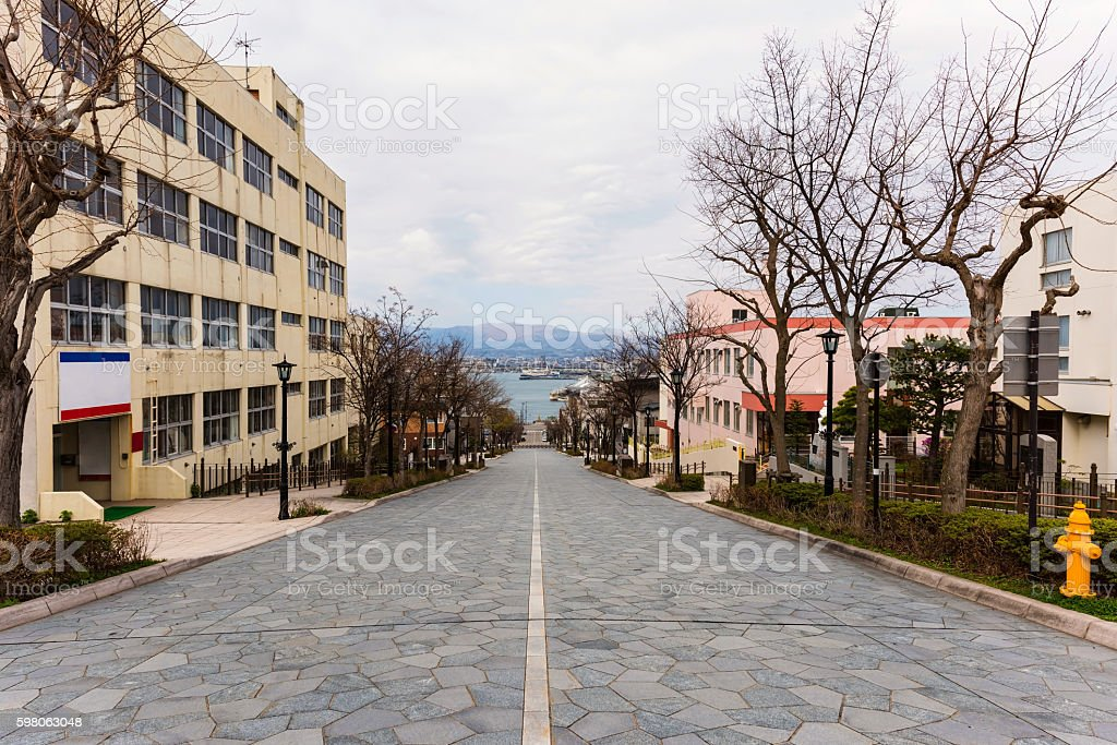 Slope landmark at Motomachi, Hakodate stock photo