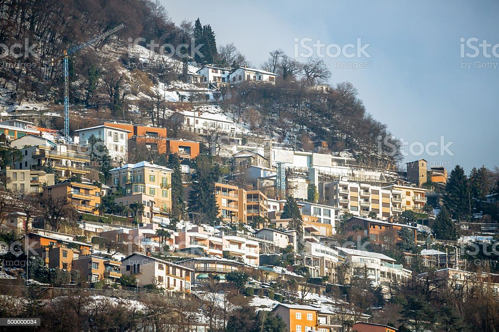 Slope of Monte Bre in Winter stock photo