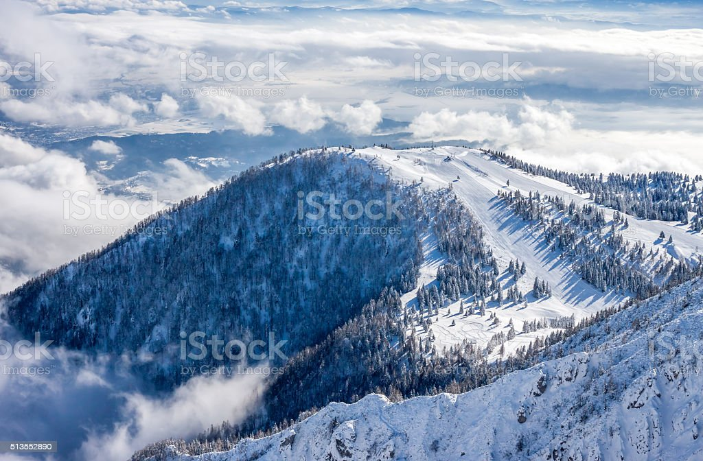 Slope on the skiing resort stock photo