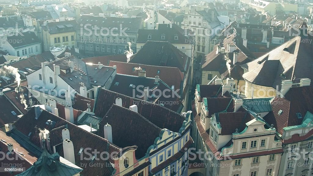 Sloped roofs and narrow streets of famous Old town in stock photo