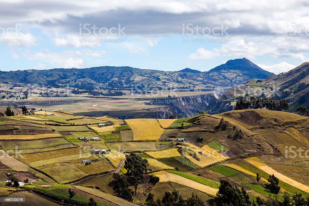 Slopes and plains colorful crop near Zumbahua stock photo