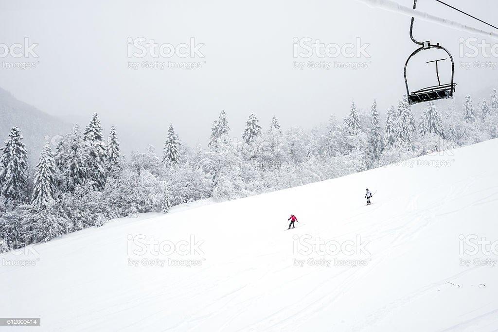 Slopes in the coniferous forest Kolasin 1450 mountain ski resort stock photo