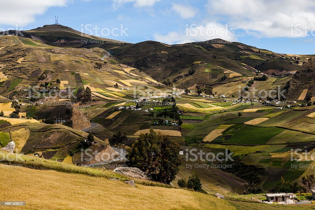 Slopes of colorful crops and homes near Zumbahua stock photo