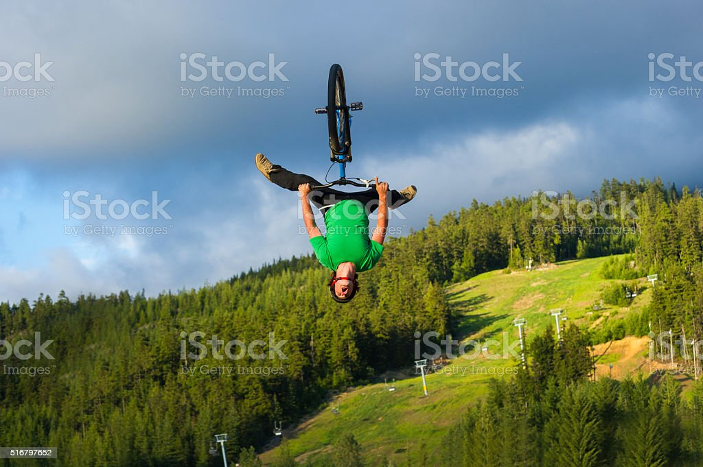 Slopestyle mountain biking in Whistler Canada stock photo