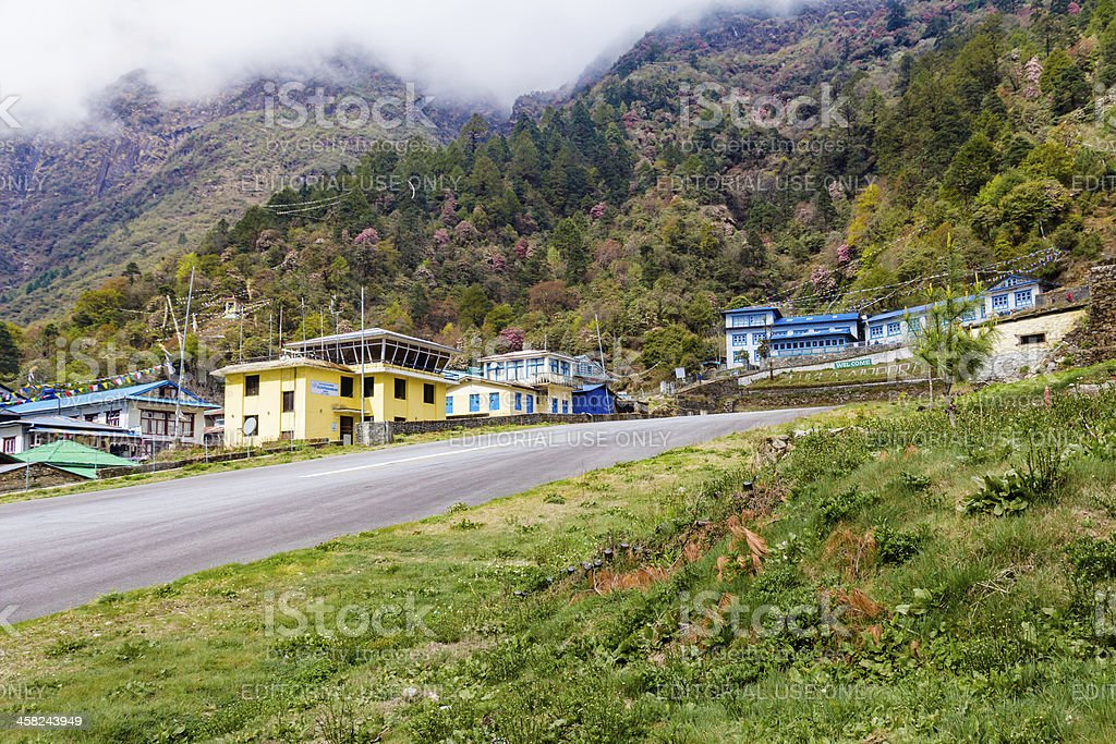Sloping Runway of Tenzing Hillary Airport at Lukla Nepal royalty-free stock photo