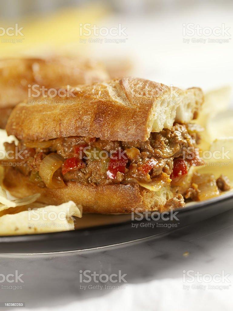 Sloppy Joe Sandwich with Tortilla Chips royalty-free stock photo