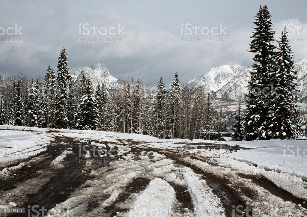Sloppy winter driving conditions - Rocky mountains stock photo