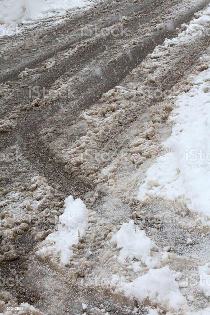 Sloppy winter driving conditions with vertical composition stock photo