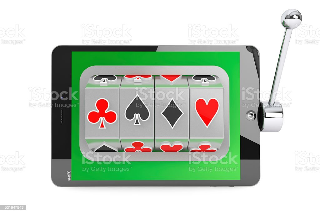 Slot machine inside Tablet PC stock photo
