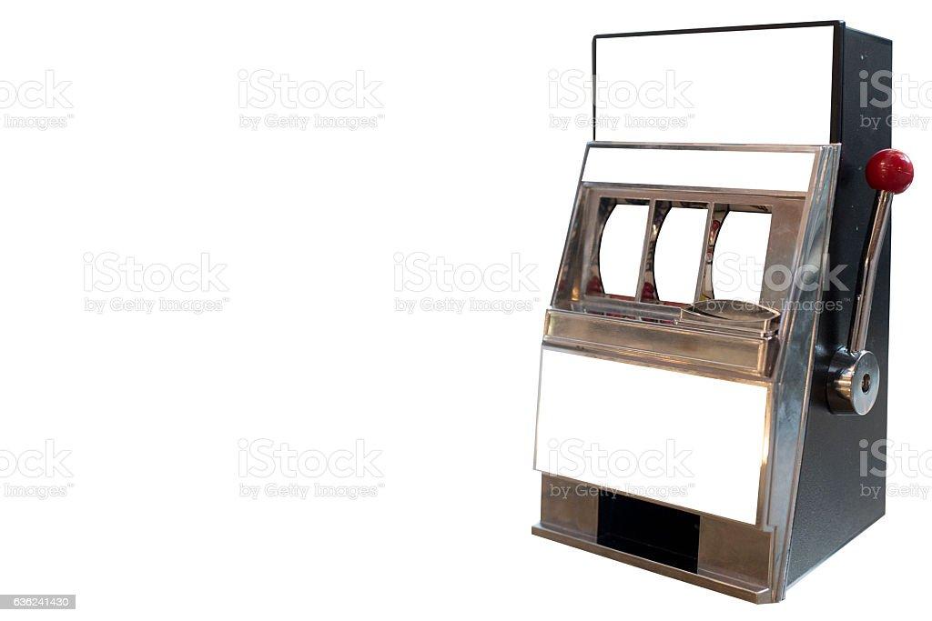 slot machine isolated on white background stock photo