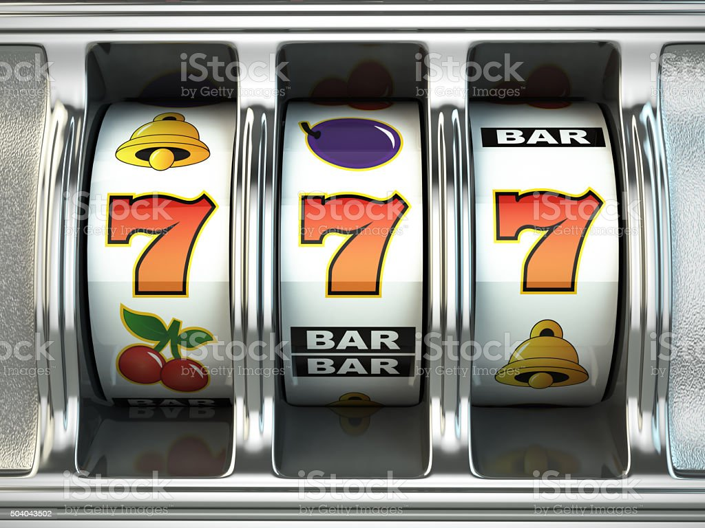Slot machine with jackpot. Casino concept. stock photo
