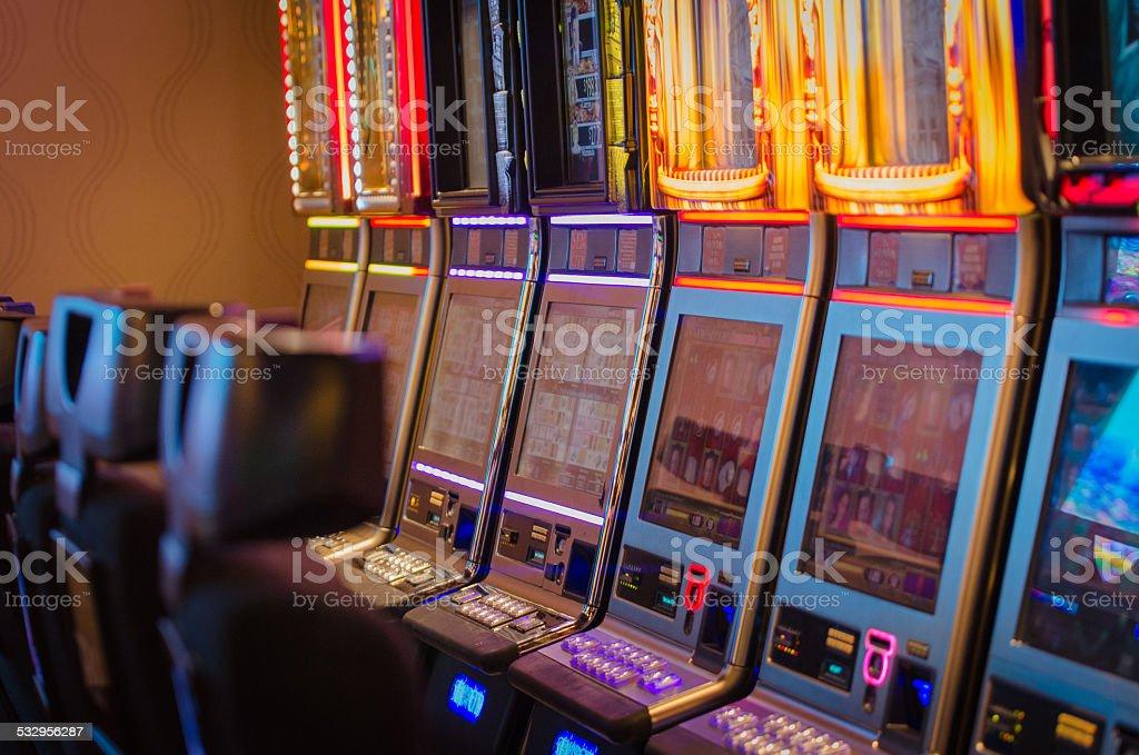 Slot machines inside a casino. stock photo