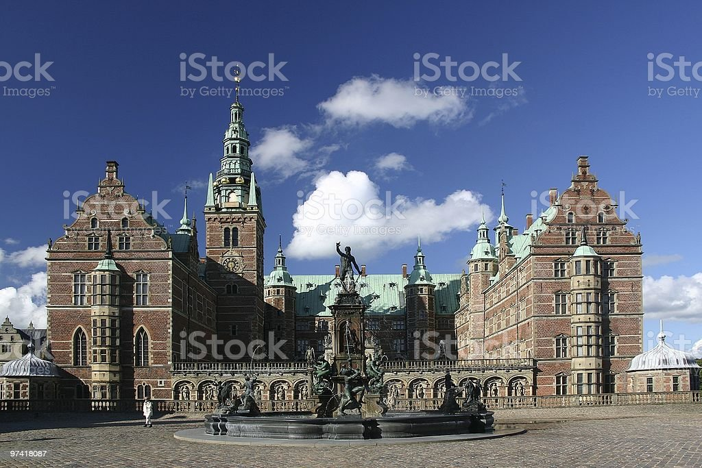 Slot of Frederiksborg view and sky stock photo