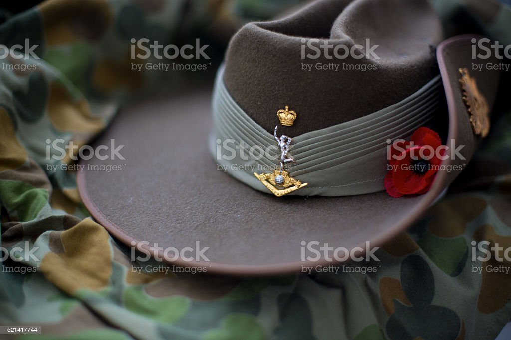 Slouch hat with red poppy stock photo