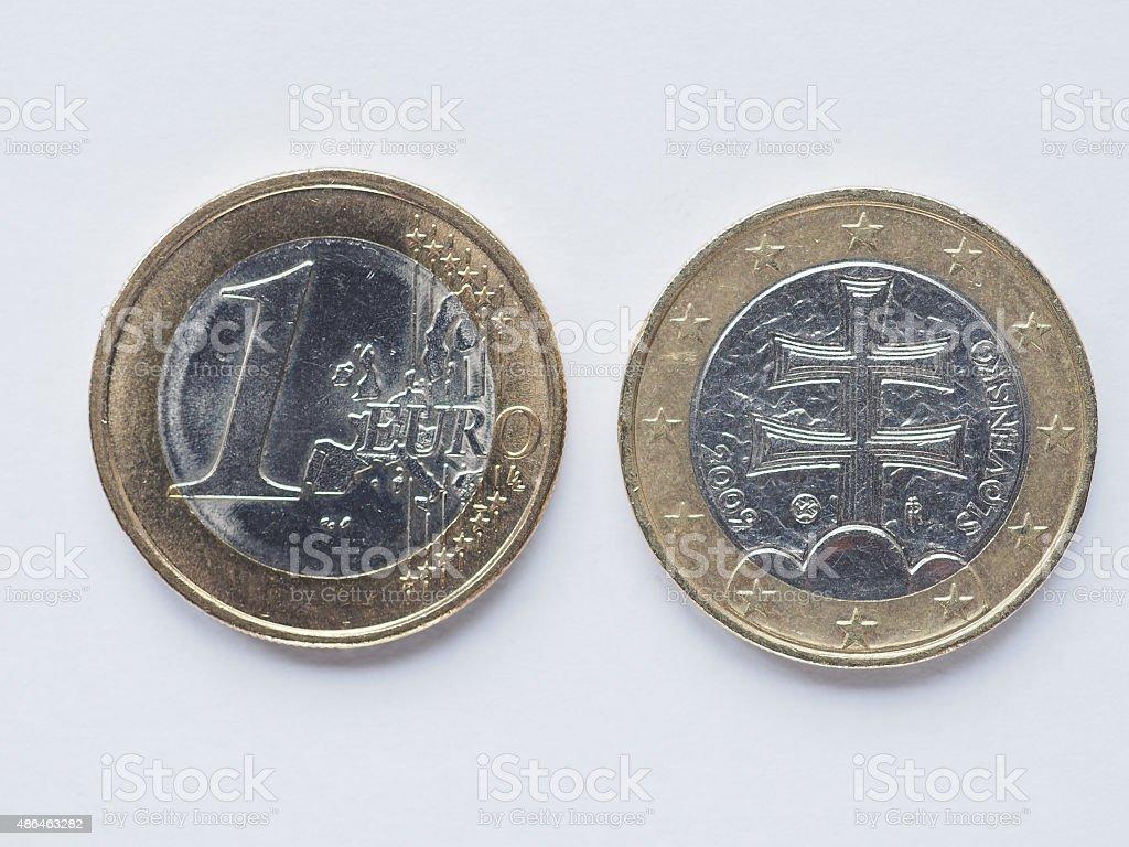 Slovak 1 Euro coin stock photo