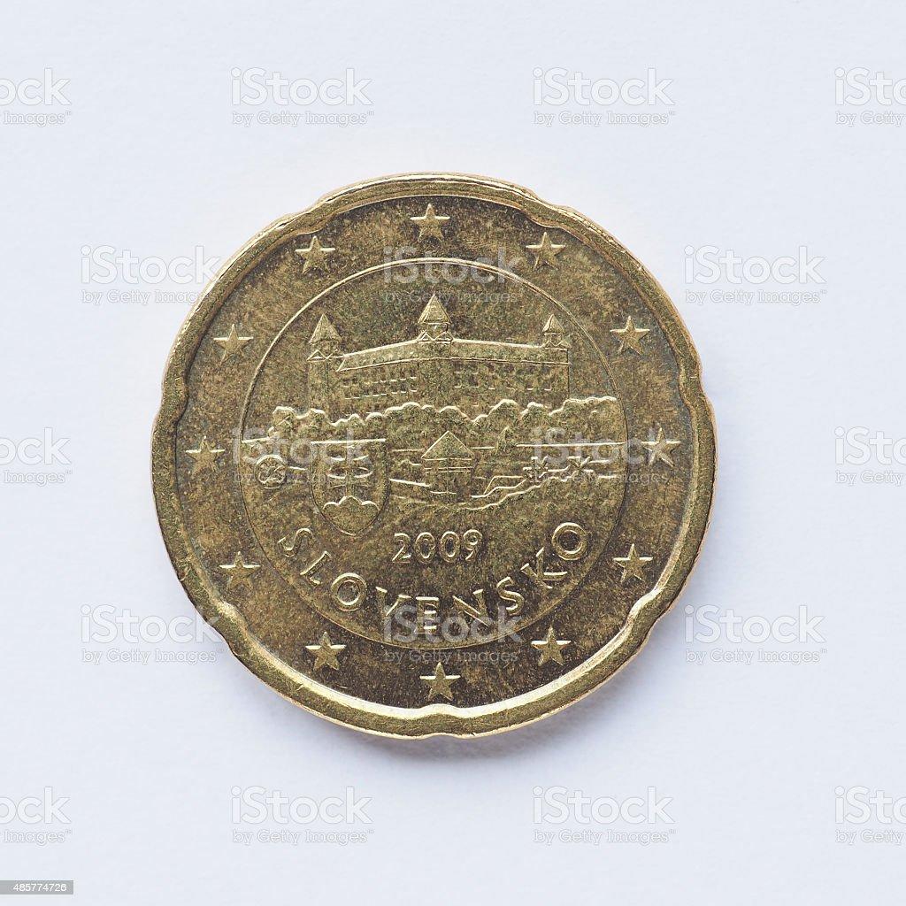 Slovak 20 cent coin stock photo